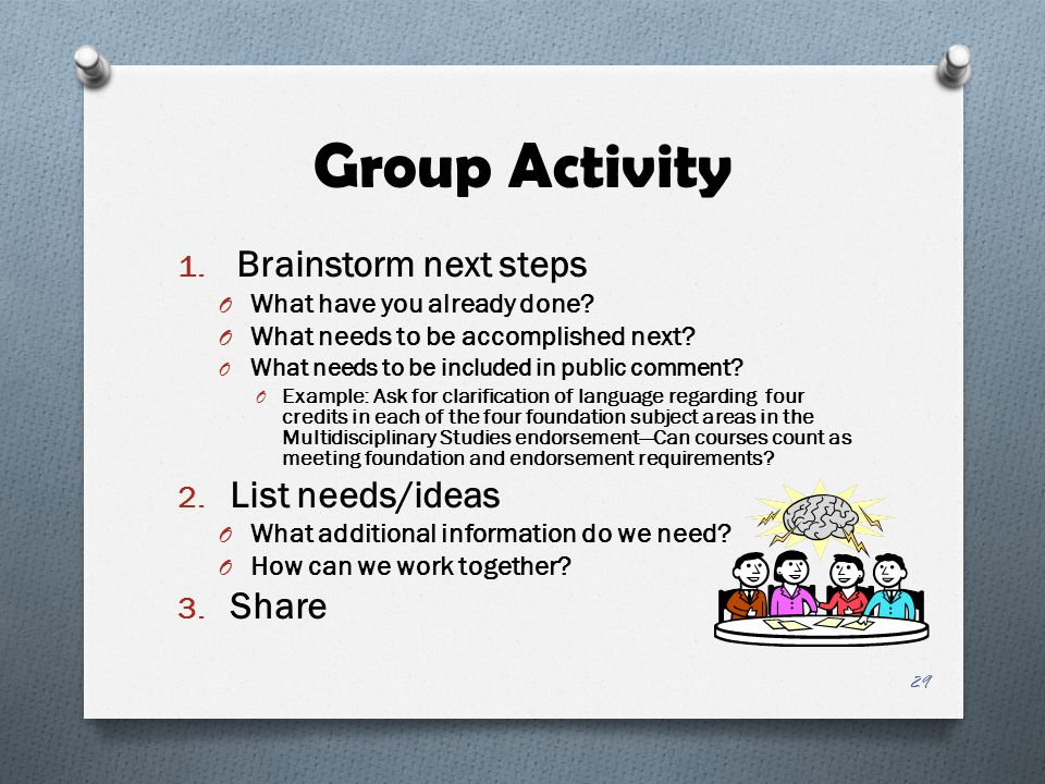 Group Activity 1. Brainstorm next steps O What have you already done? O What needs to be accomplished next? O What needs to be included in public comm