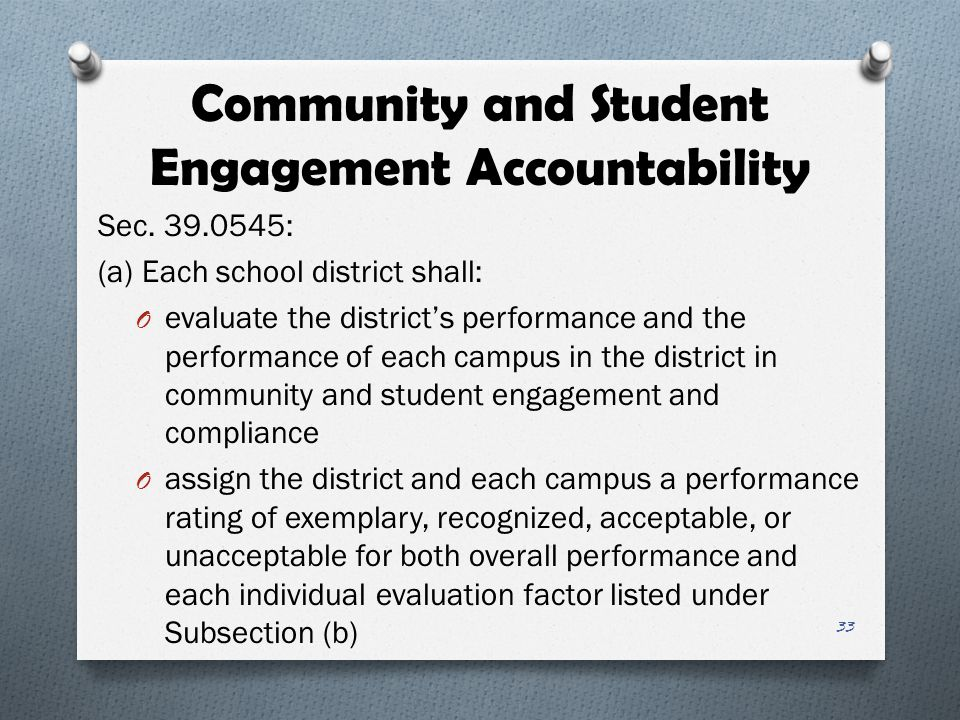 Community and Student Engagement Accountability Sec. 39.0545: (a) Each school district shall: O evaluate the district's performance and the performanc
