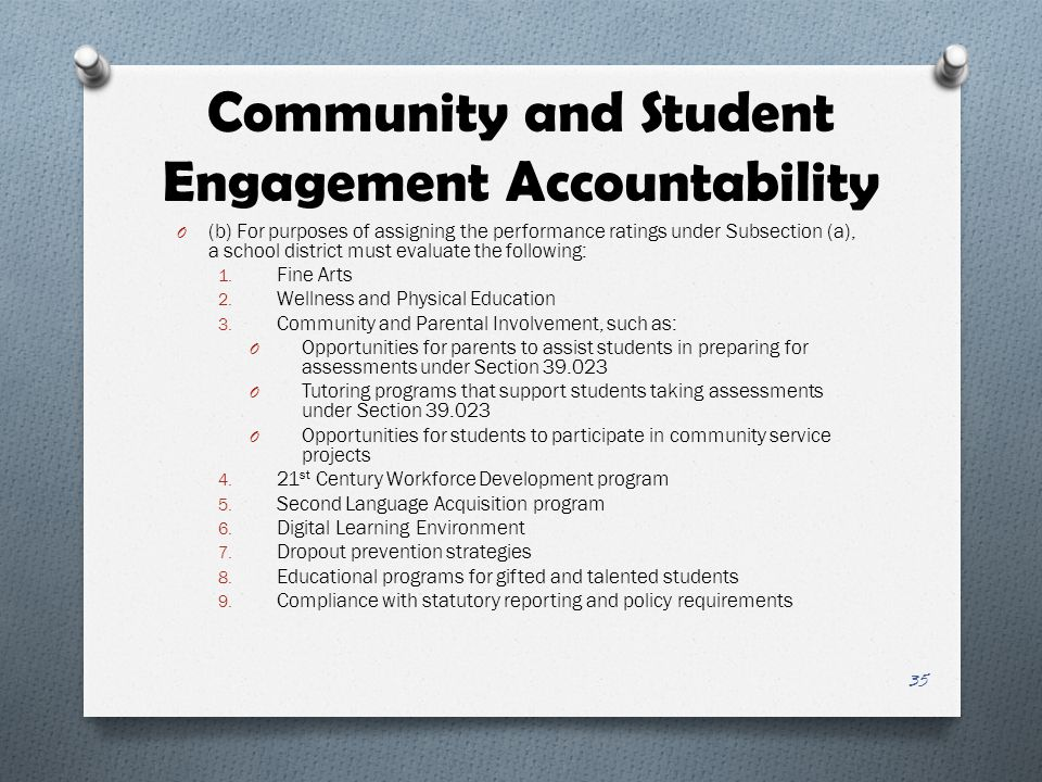 Community and Student Engagement Accountability O (b) For purposes of assigning the performance ratings under Subsection (a), a school district must e