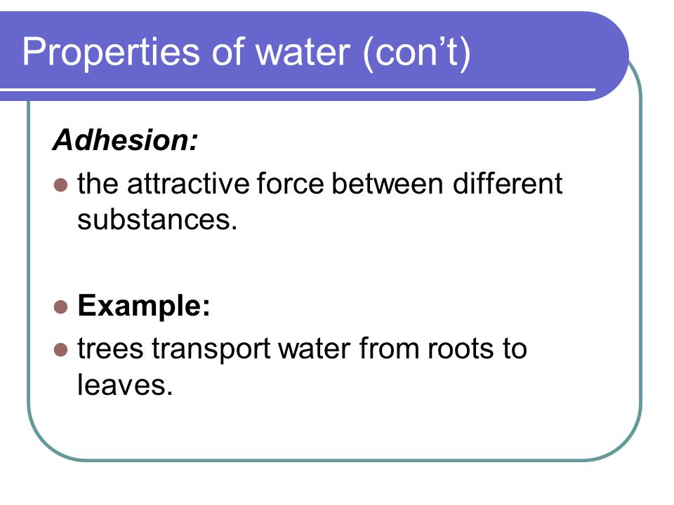 Properties of water (con't) Surface tension: a measure of how difficult it is to break the surface of a liquid.