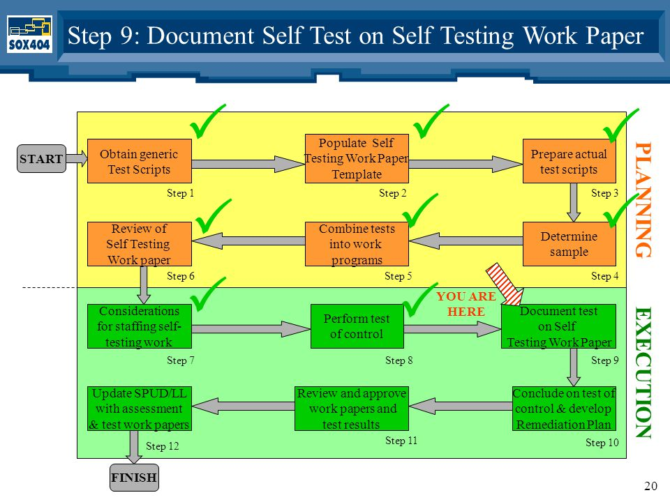 20 Obtain generic Test Scripts Populate Self Testing Work Paper Template Prepare actual test scripts Determine sample Combine tests into work programs Review of Self Testing Work paper Step 1Step 2Step 3 Step 6Step 5Step 4 START PLANNING Considerations for staffing self- testing work Perform test of control Document test on Self Testing Work Paper Conclude on test of control & develop Remediation Plan Review and approve work papers and test results Step 7Step 8Step 9 Step 11 Step 10 FINISH EXECUTION Update SPUD/LL with assessment & test work papers Step 12 Step 9: Document Self Test on Self Testing Work Paper  YOU ARE HERE     