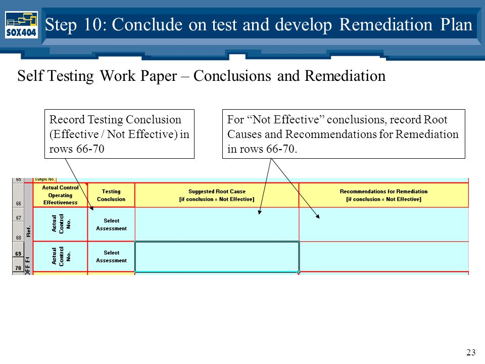 23 Self Testing Work Paper – Conclusions and Remediation Step 10: Conclude on test and develop Remediation Plan Record Testing Conclusion (Effective / Not Effective) in rows 66-70 For Not Effective conclusions, record Root Causes and Recommendations for Remediation in rows 66-70.