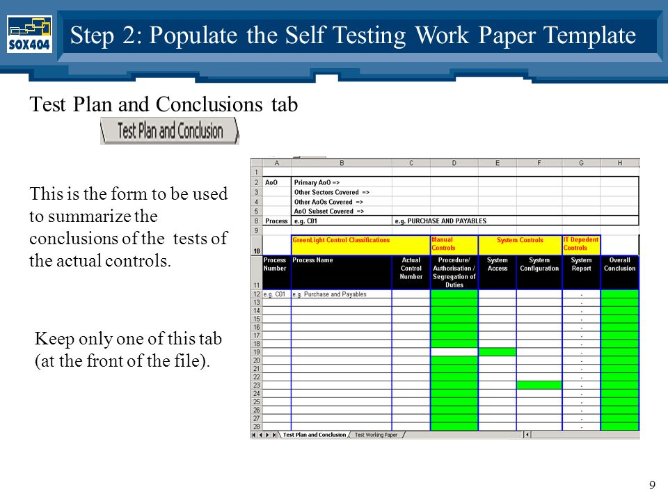 9 Test Plan and Conclusions tab This is the form to be used to summarize the conclusions of the tests of the actual controls.