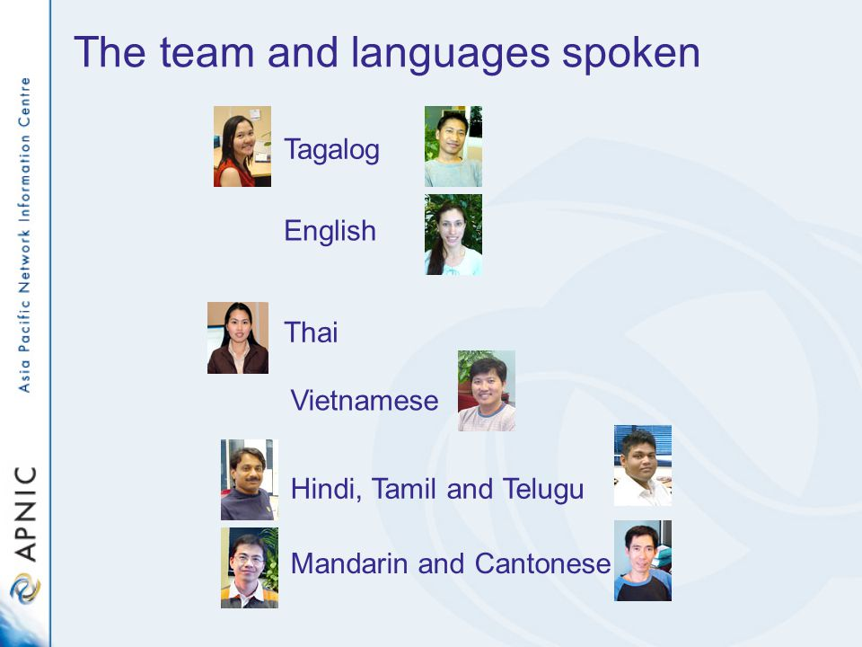 The team and languages spoken English Tagalog Hindi, Tamil and Telugu Mandarin and Cantonese Vietnamese Thai