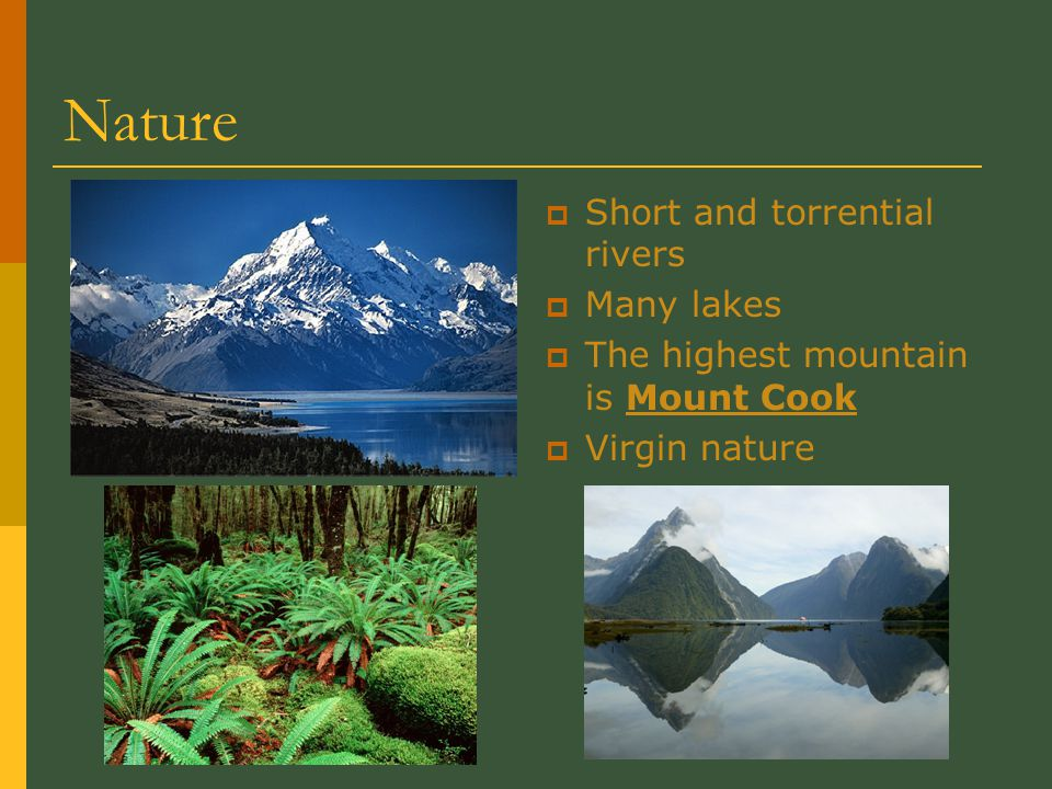 Nature  Short and torrential rivers  Many lakes  The highest mountain is Mount Cook  Virgin nature