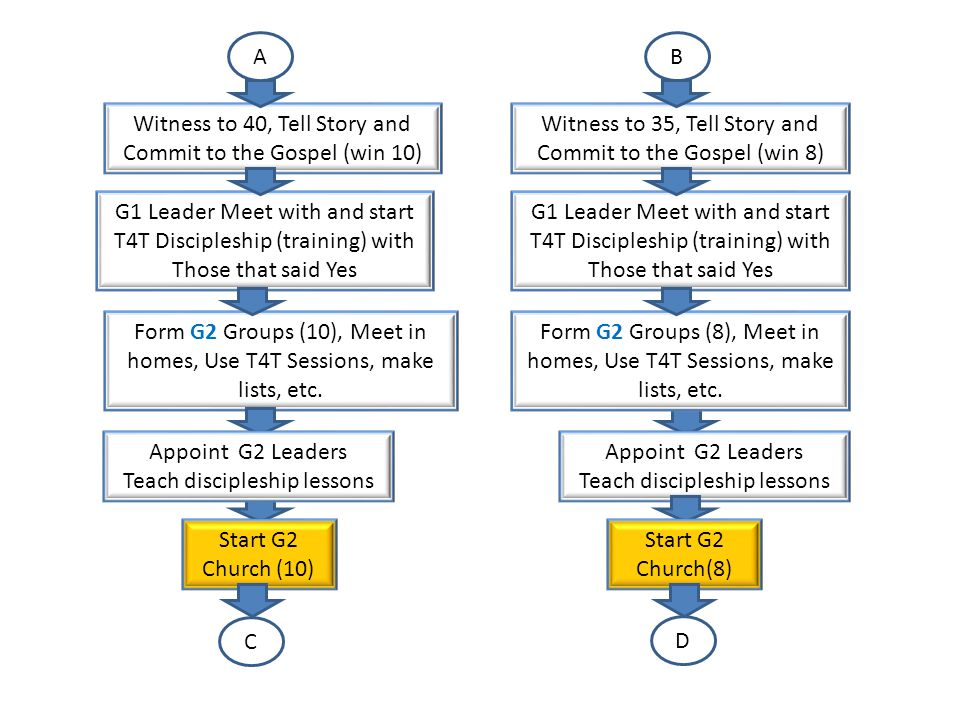 CD Witness to 50, Tell Story and Commit to the Gospel (win 12) G2 Leader Meet with and start T4T Discipleship (training) with Those that said Yes Appoint G3 Leaders Teach discipleship lessons Form G3 Groups (12), Meet in homes, Use T4T Sessions, make lists, etc.