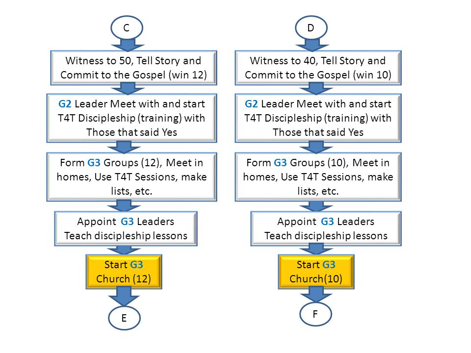E F Witness to 60, Tell Story and Commit to the Gospel (win 15) G3 Leader Meet with and start T4T Discipleship (training) with Those that said Yes Appoint G4 Leaders Teach discipleship lessons Form G4 Group (8), Meet in homes, Use T4T Sessions, make lists.