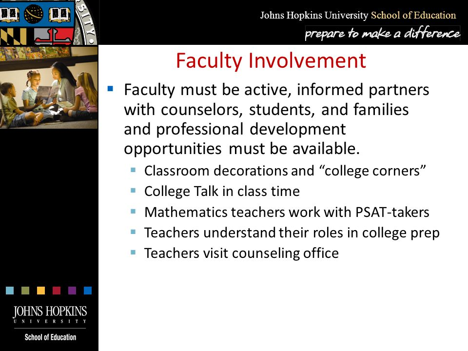 Johns Hopkins University School of Education Faculty Involvement  Faculty must be active, informed partners with counselors, students, and families a