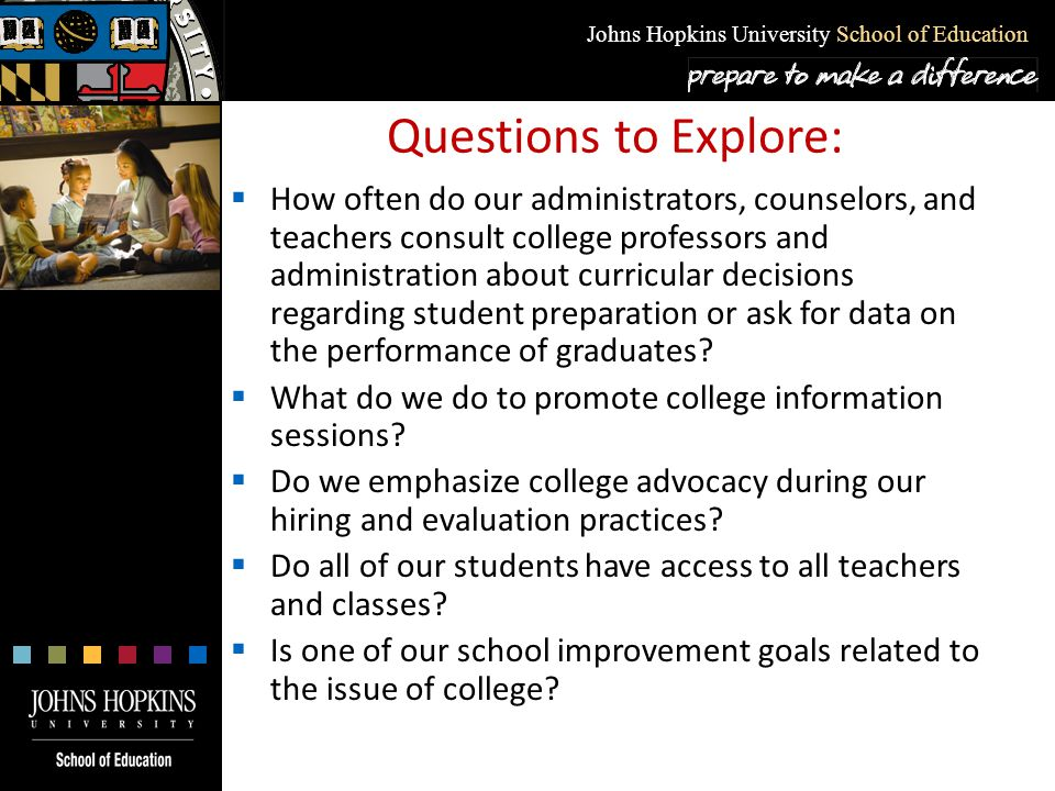 Johns Hopkins University School of Education Questions to Explore:  How often do our administrators, counselors, and teachers consult college profess