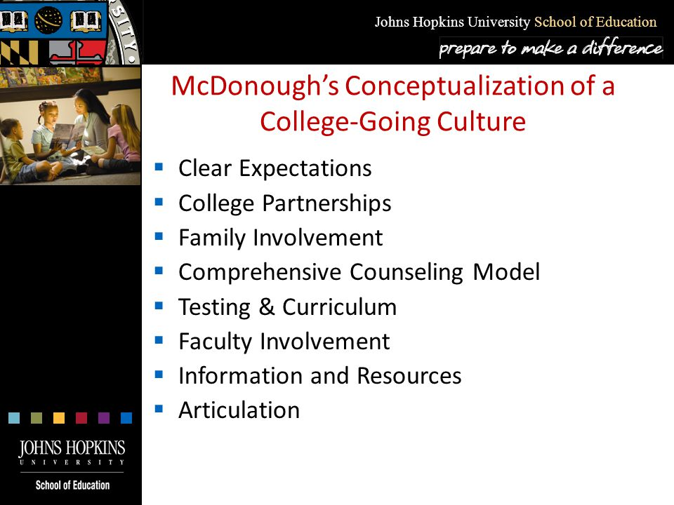 Johns Hopkins University School of Education Clear Expectations  Explicit goals of college preparation must be defined and communicated clearly, consistently, and in a variety of ways by families and all school personnel.