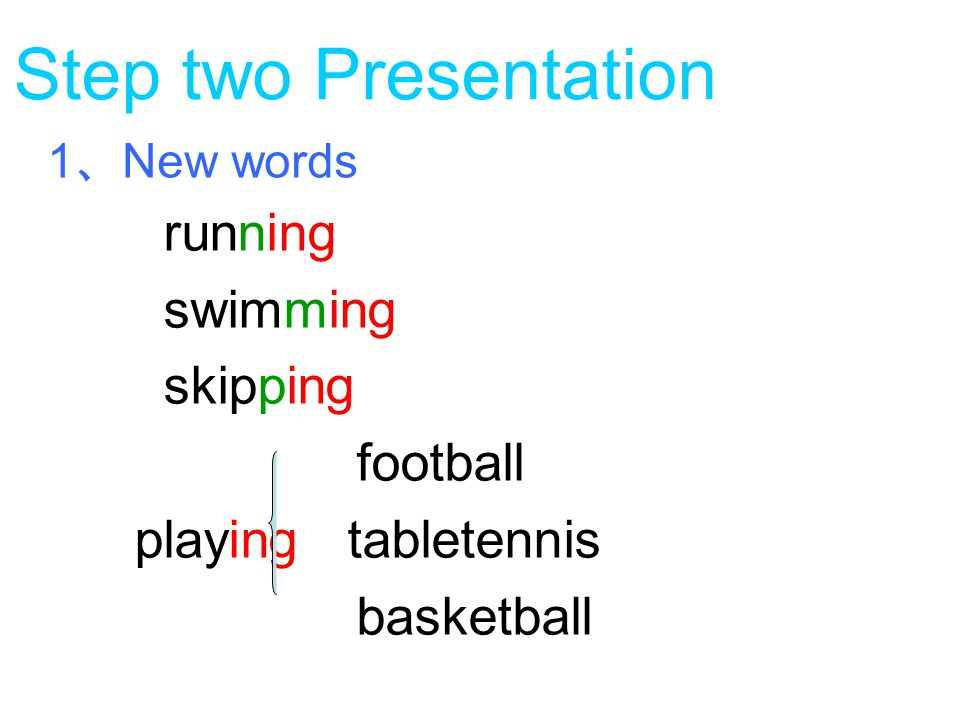 Step two Presentation running swimming skipping football playing tabletennis basketball 1 、 New words