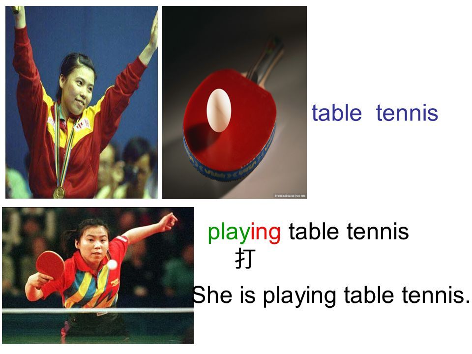 table tennis She is playing table tennis. playing table tennis 打