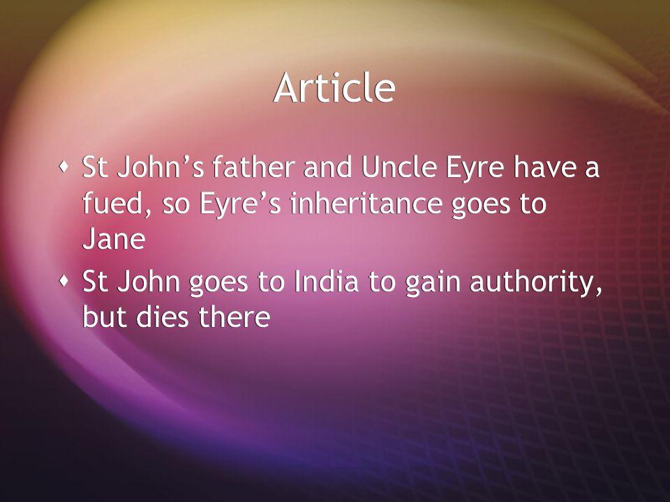 Article  John Eyre, John Reed, St John Rivers, Jane Eyre  Jane's treatment of Adele mirrors Mrs.
