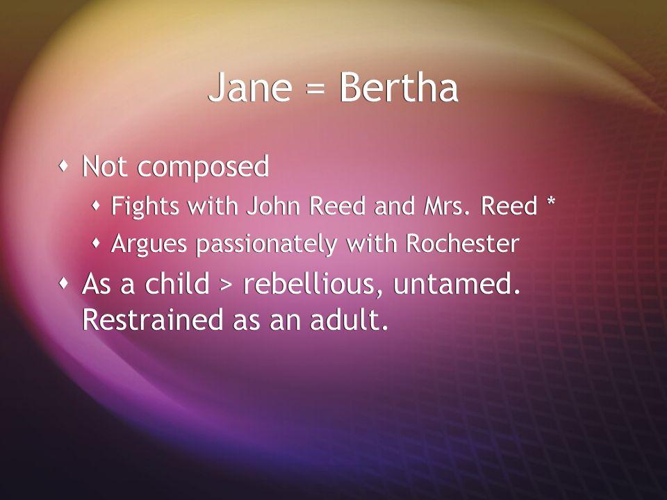 Bertha = Jane  Witty, cunning, intelligent  Like Jane: articulate, art of weeping .