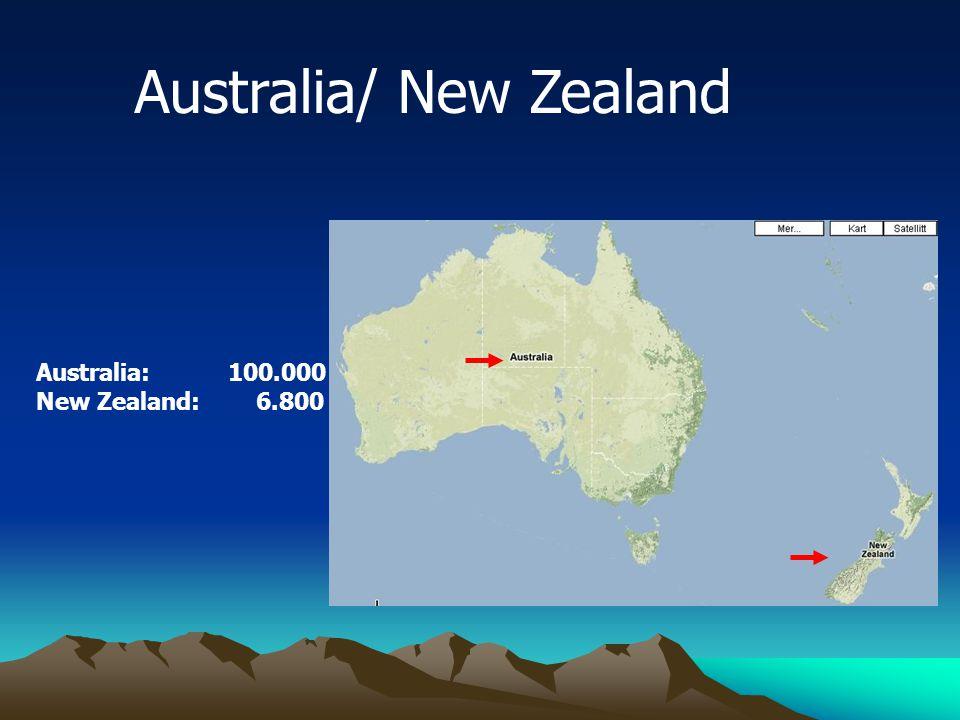 Australia/ New Zealand Australia: 100.000 New Zealand: 6.800