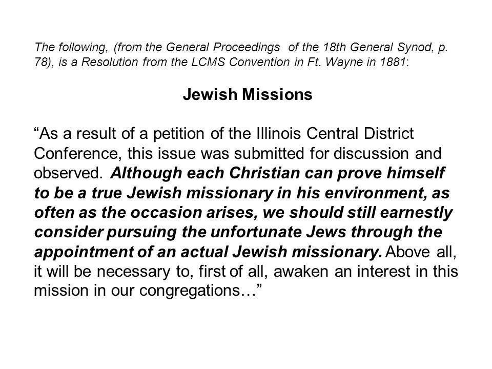 Why 'LCMS' Jewish Missions. 1881 Synod Convention at Ft.
