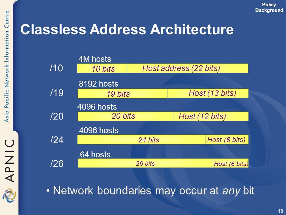 18 64 hosts 26 bits Host (6 bits) Classless Address Architecture 19 bits Host (13 bits) 10 bits Host address (22 bits) 4M hosts /10 /19 /20 /26 20 bit