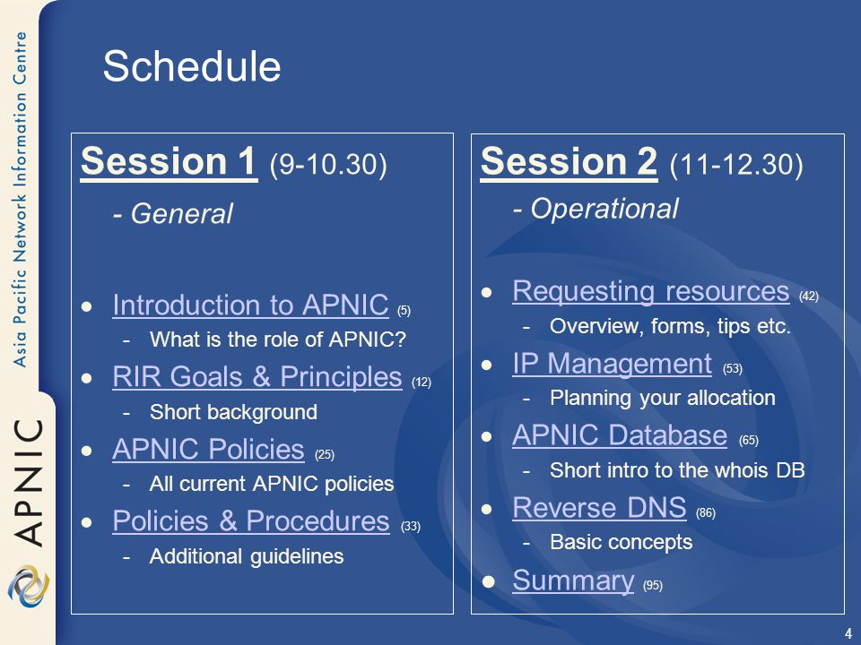APNIC IPv4 Address Policies Allocation & Assignment Policies