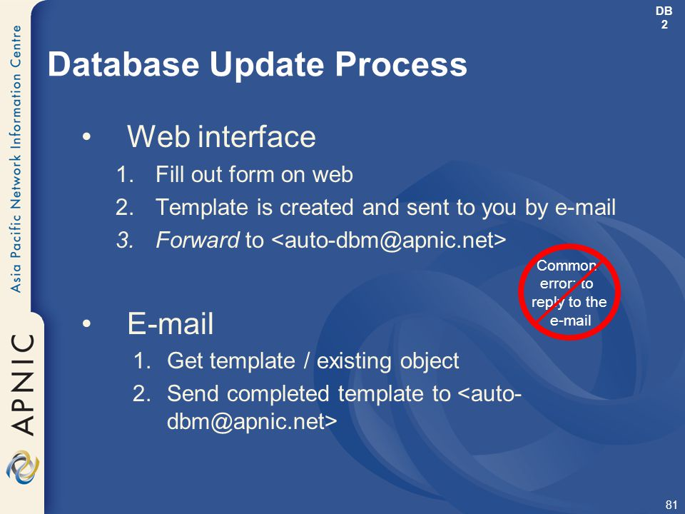 81 Database Update Process Web interface 1.Fill out form on web 2.Template is created and sent to you by e-mail 3.Forward to E-mail 1.Get template / e