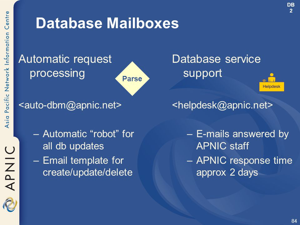 """84 Parse Database Mailboxes Automatic request processing –Automatic """"robot"""" for all db updates –Email template for create/update/delete Database servi"""