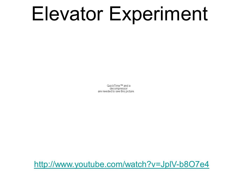 Elevator Experiment http://www.youtube.com/watch?v=JplV-b8O7e4