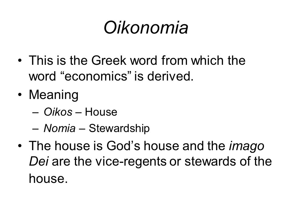 Contrasting Oikonomia Oikonomia management of a household so as to increase its value to all of its members over the long run Focus on benefiting the community Planted olive trees and built olive press Chrematistics manipulation of property and wealth so as to maximize short-term exchange values Focus on individual consumption Leased all the olive groves