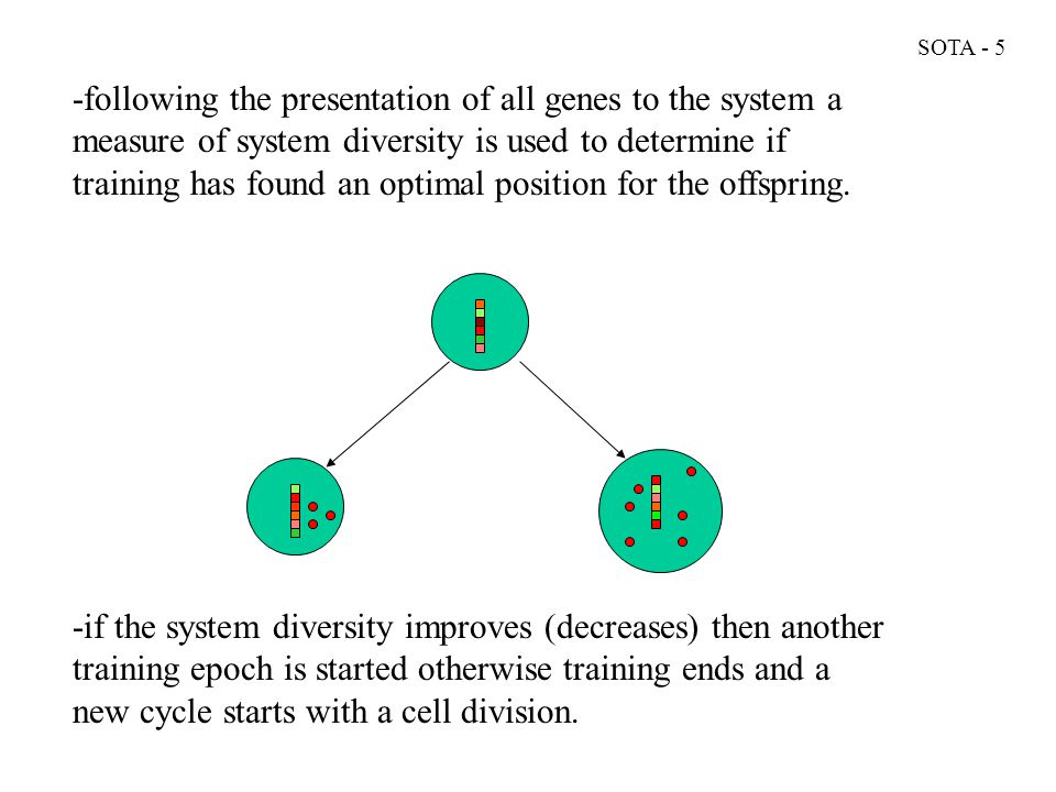 -following the presentation of all genes to the system a measure of system diversity is used to determine if training has found an optimal position for the offspring.
