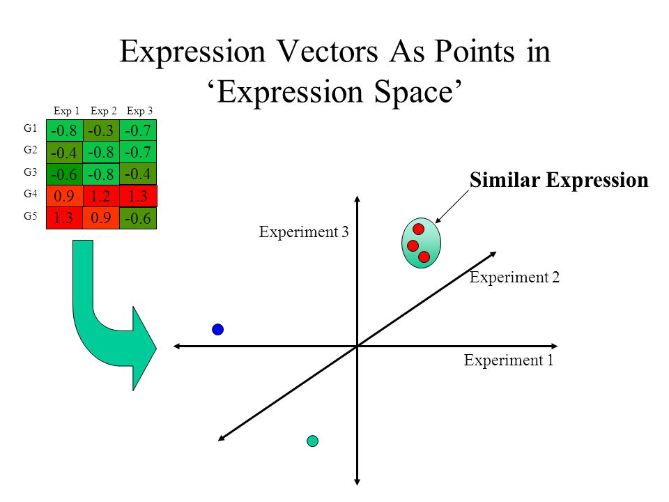 Distance and Similarity -the ability to calculate a distance (or similarity, it's inverse) between two expression vectors is fundamental to clustering algorithms -distance between vectors is the basis upon which decisions are made when grouping similar patterns of expression -selection of a distance metric defines the concept of distance