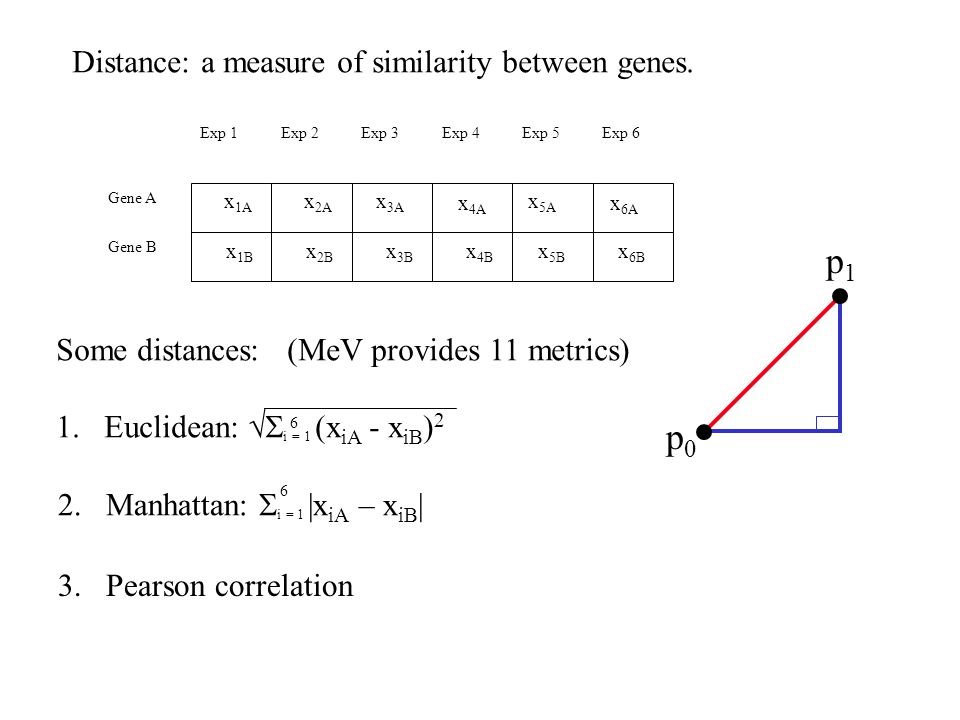 Distance is Defined by a Metric Euclidean Pearson(r*-1)Distance Metric : 4.2 1.4 -0.90 D D