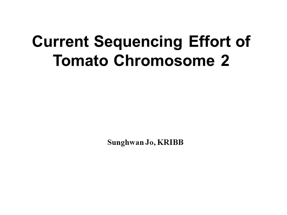 Current Sequencing Effort of Tomato Chromosome 2 Sunghwan Jo, KRIBB