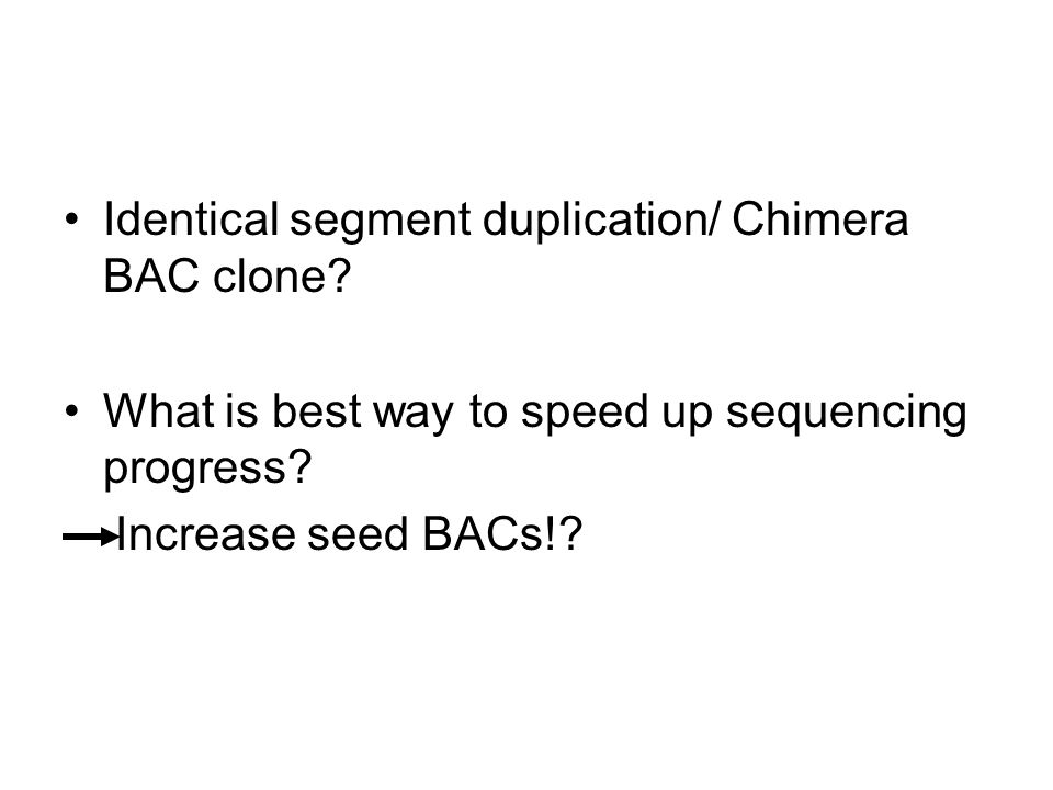 Identical segment duplication/ Chimera BAC clone. What is best way to speed up sequencing progress.