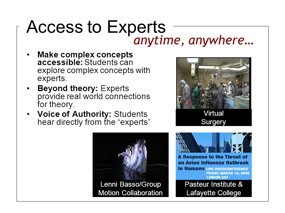Access to Experts Make complex concepts accessible: Students can explore complex concepts with experts.