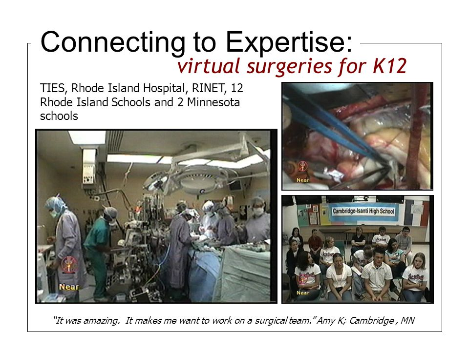 Connecting to Expertise: TIES, Rhode Island Hospital, RINET, 12 Rhode Island Schools and 2 Minnesota schools It was amazing.