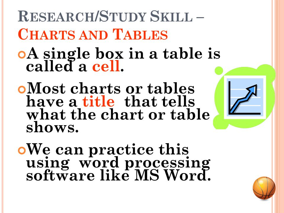 R ESEARCH /S TUDY S KILL – C HARTS AND T ABLES Tables are a special kind of chart that show information in rows and columns.
