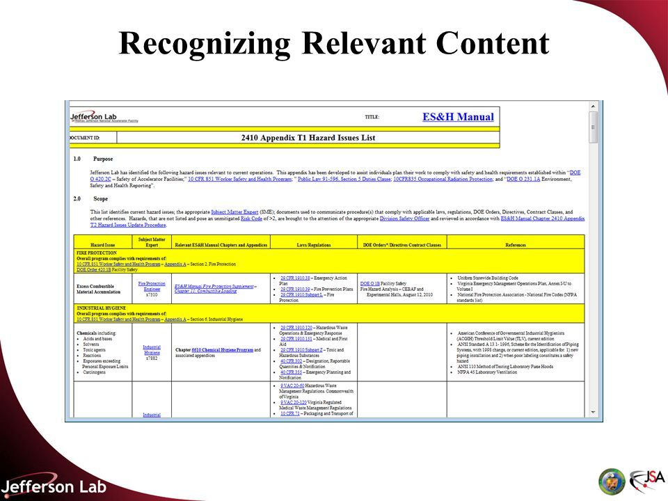 Recognizing Relevant Content