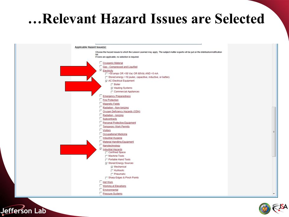 …Relevant Hazard Issues are Selected