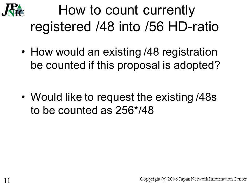 11 Copyright (c) 2006 Japan Network Information Center How to count currently registered /48 into /56 HD-ratio How would an existing /48 registration be counted if this proposal is adopted.