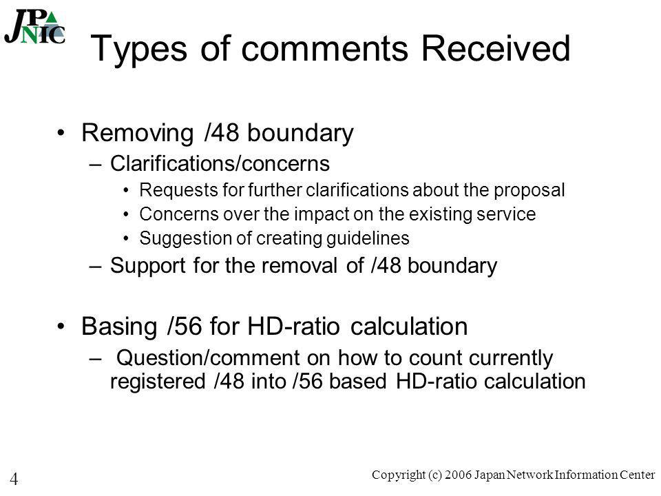 4 Copyright (c) 2006 Japan Network Information Center Types of comments Received Removing /48 boundary –Clarifications/concerns Requests for further c