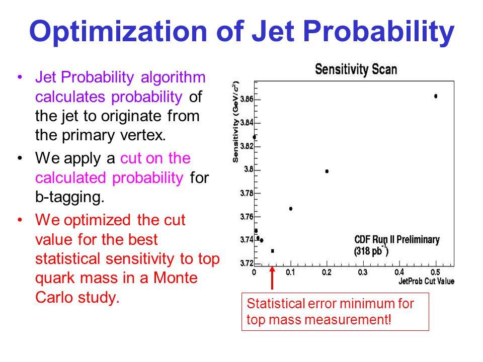 Optimization of Jet Probability Jet Probability algorithm calculates probability of the jet to originate from the primary vertex.
