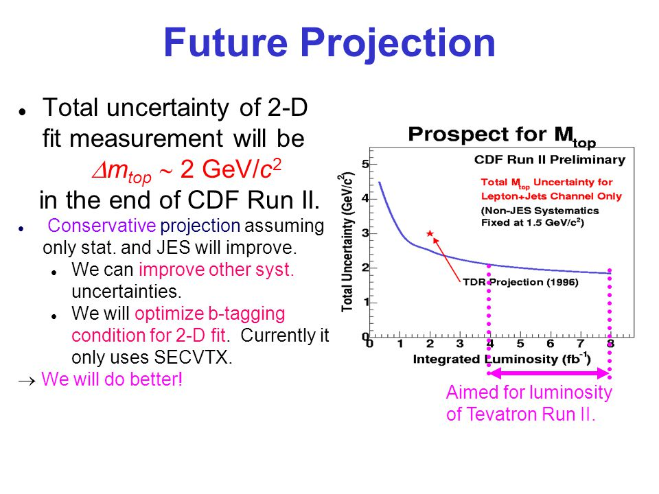 Future Projection Aimed for luminosity of Tevatron Run II.
