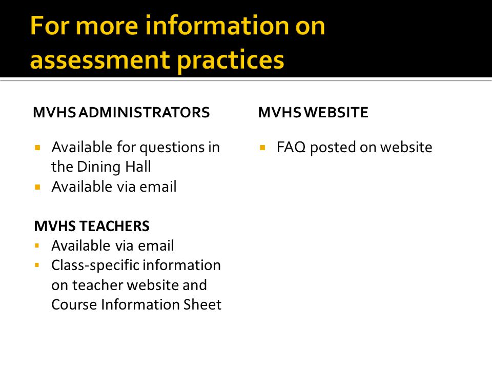 MVHS ADMINISTRATORS  Available for questions in the Dining Hall  Available via email MVHS TEACHERS  Available via email  Class-specific information on teacher website and Course Information Sheet MVHS WEBSITE  FAQ posted on website