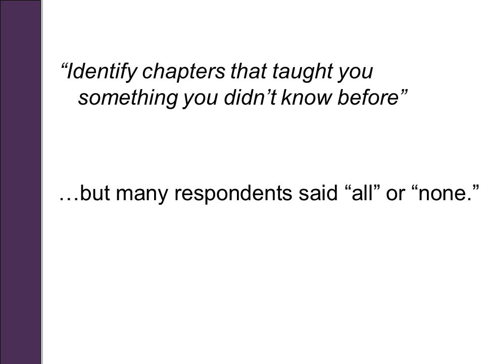 Identify chapters that taught you something you didn't know before …but many respondents said all or none.