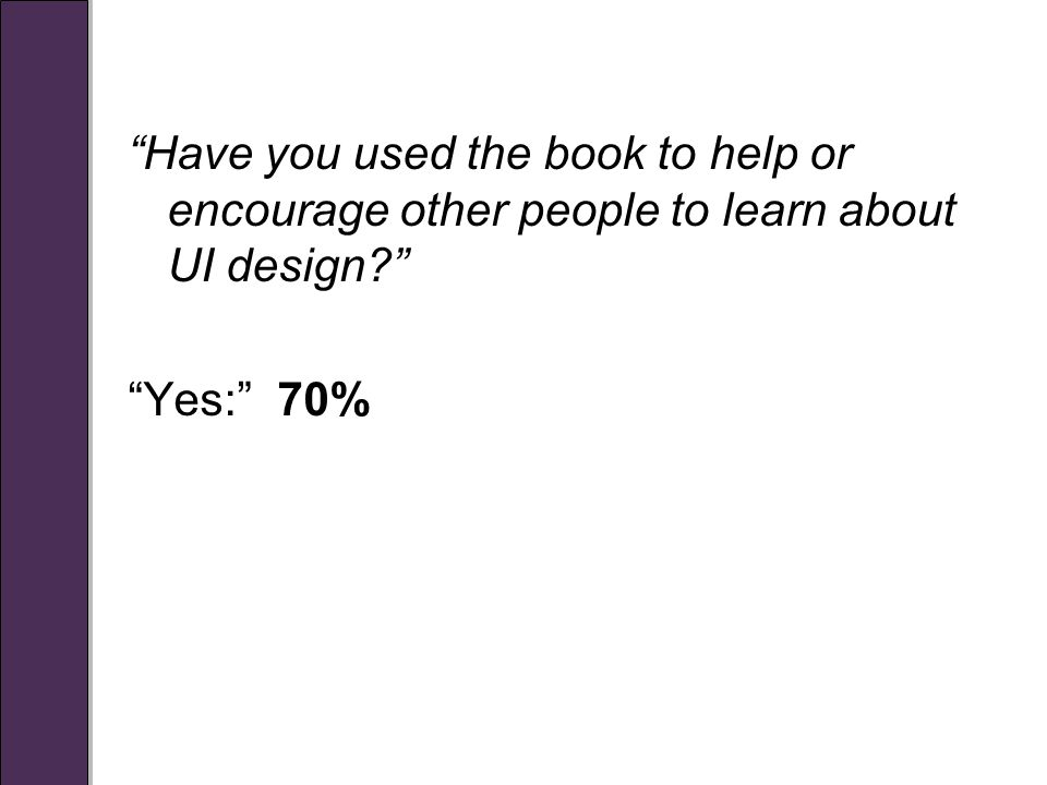 Have you used the book to help or encourage other people to learn about UI design Yes: 70%