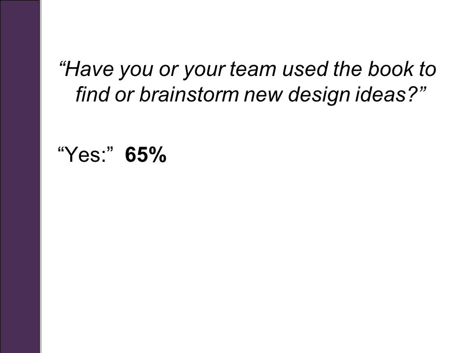 Have you or your team used the book to find or brainstorm new design ideas Yes: 65%