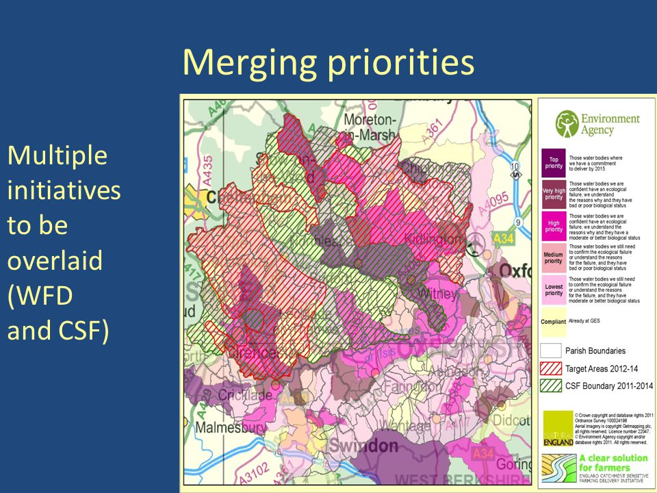 Merging priorities Multiple initiatives to be overlaid (WFD and CSF)