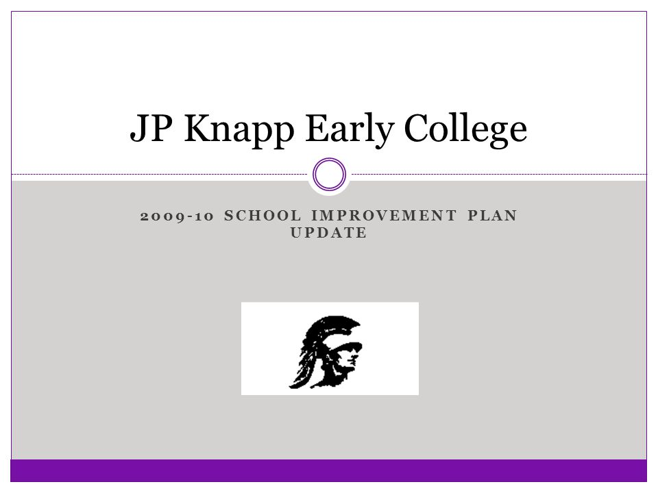 2009-10 SCHOOL IMPROVEMENT PLAN UPDATE JP Knapp Early College