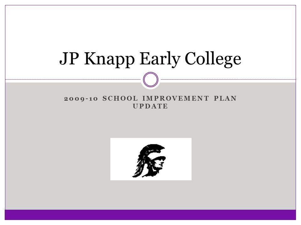 2009-10 SCHOOL IMPROVEMENT PLAN UPDATE JP Knapp Early College