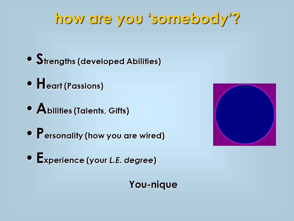 S trengths (developed Abilities) S trengths (developed Abilities) H eart (Passions) H eart (Passions) A bilities (Talents, Gifts) A bilities (Talents, Gifts) P ersonality (how you are wired) P ersonality (how you are wired) E xperience (your L.E.