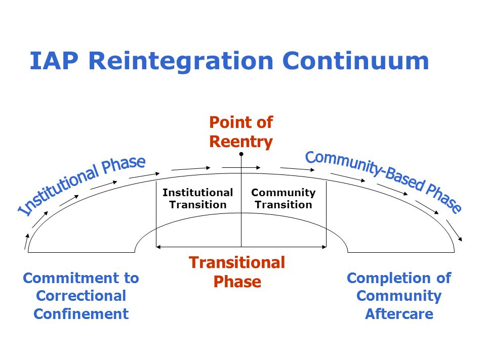 IAP Reintegration Continuum Transitional Phase Institutional Transition Community Transition Commitment to Correctional Confinement Completion of Community Aftercare Point of Reentry