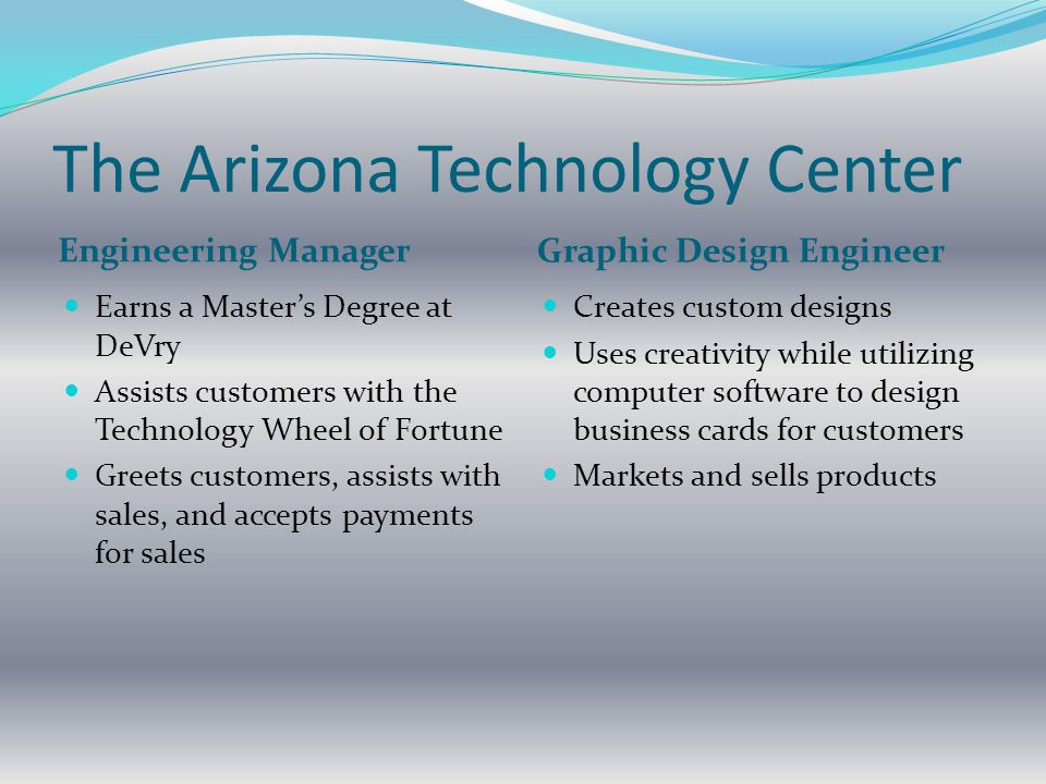 The Arizona Technology Center Engineering Manager Graphic Design Engineer Earns a Master's Degree at DeVry Assists customers with the Technology Wheel of Fortune Greets customers, assists with sales, and accepts payments for sales Creates custom designs Uses creativity while utilizing computer software to design business cards for customers Markets and sells products